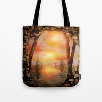 Tote Bags featuring Calling The Sun XX by Viviana Gonzalez