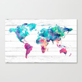 World Map Watercolor Paint on White Wood Canvas Print