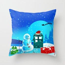 Tardis With Snow Ball Gift Christmas Throw Pillow