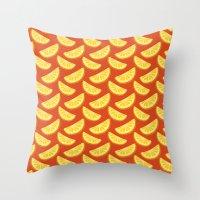orange pattern Throw Pillows featuring Orange Pattern by rusanovska