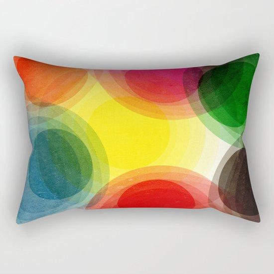 Colorful Retro Circles Rectangular Pillow