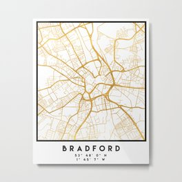 BRADFORD ENGLAND CITY STREET MAP ART Metal Print