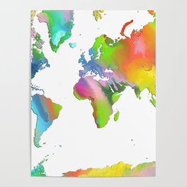 World Map - Watercolor Poster