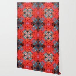 Southwestern Decor Turquoise and Orange Pattern Design Wallpaper