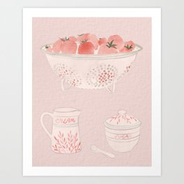 Strawberries and Cream Watercolor Art Print