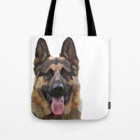 german shepherd Tote Bags featuring German Shepherd by Just Like A Breeze