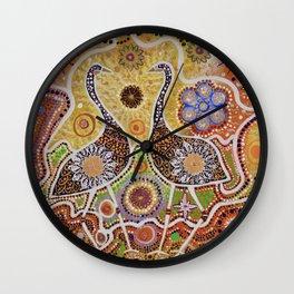 """Dinewan the Emu and Goomble-Gubbon the Plain Turkey"" Wall Clock"