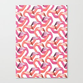 Woven flamingoes on white Canvas Print
