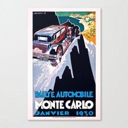1930 Monaco Rallye Monte Carlo Racing Poster Canvas Print