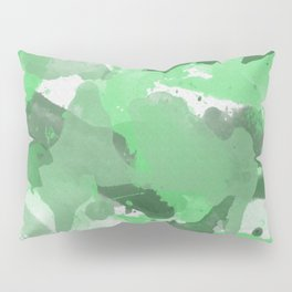 Green Splatters Watercolor Illustration - Patchy Camo Pillow Sham