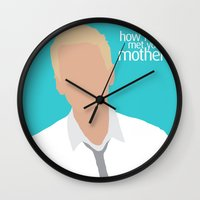 himym Wall Clocks featuring Barney Stinson HIMYM by Rosaura Grant