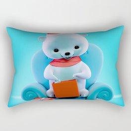 Teddy Bear With Christmas Box Rectangular Pillow