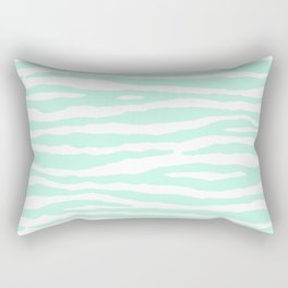 Mint Green & White Animal Print Rectangular Pillow