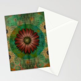 """Daisy Woman (Red Daisy, pattern)"" Stationery Cards"