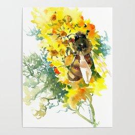 Honey Bee and Flower yellow honey bee design honey making Poster