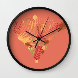 Autumn fallen leaves with rake design illustration Wall Clock