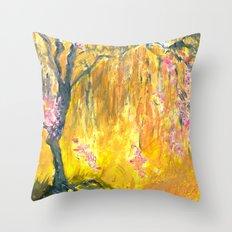 Rain of Blossoms Throw Pillow