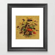 Stained Glass Dragonflies & Flowers Framed Art Print