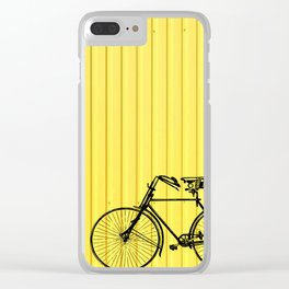 Vintage bike on yellow Clear iPhone Case