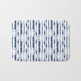 Shibori Stripes 2 Indigo Blue Bath Mat