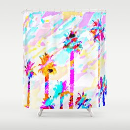 palm tree with colorful painting texture abstract background in pink blue yellow red Shower Curtain