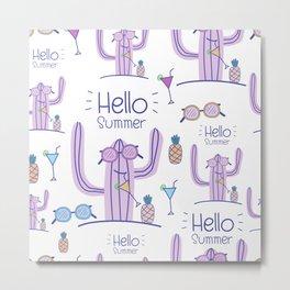 Hello Summer Cactus! Metal Print