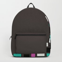 Colorful combined pattern 4. Brown , pink , turquoise . Backpack
