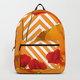 YELLOW & RED  POPPIES MODERN GOLDEN PATTERNS Backpack