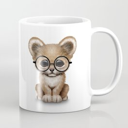 Cute Baby Lion Cub Wearing Glasses on Blue Coffee Mug