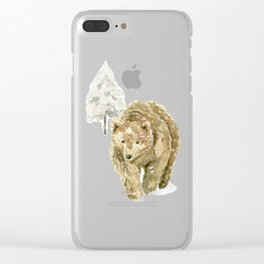 Bear in the winter forest Clear iPhone Case