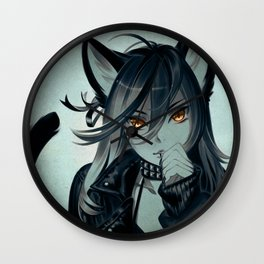 Leather Cat Wall Clock