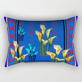 Blue Art White Calla Lilies Red Patterns Rectangular Pillow