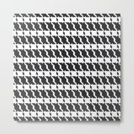 Black and white geometric abstract background, cloth pattern, goose foot. Pied de poule. Ve Metal Print