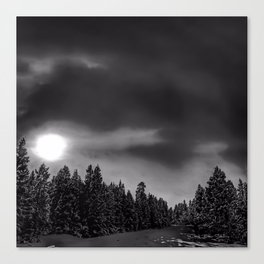 Moon Over Montana - Black and White Canvas Print