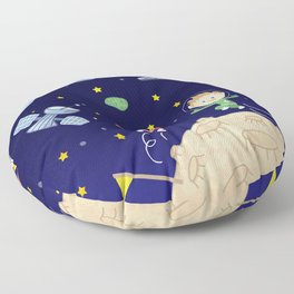 Space kids astronauts planets asteroids and spaceships Floor Pillow
