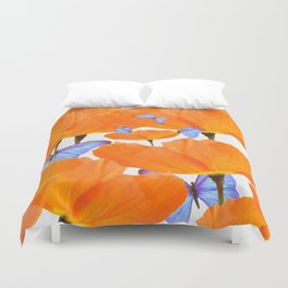 Poppies And Butterflies White Background #decor #society6 #buyart Duvet Cover