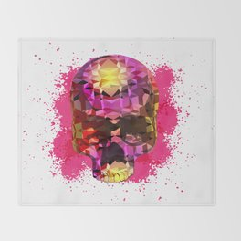 Skull with Crystal Polygon Throw Blanket