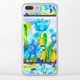 Blue Poppies 1 with Border Clear iPhone Case