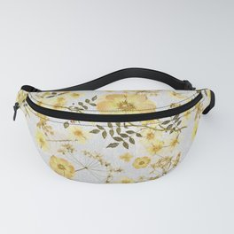 Yellow Roses on Grey Fanny Pack