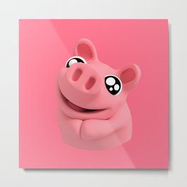 Rosa the Pig Looking Cute Metal Print