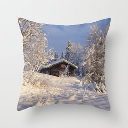 Winter nature in sunset Throw Pillow