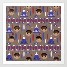 Seamless kids cute American indian native retro background pattern Art Print