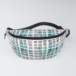 Modern Bohemian Hipster Teal Coral Pink and Black Plaid Pattern Fanny Pack