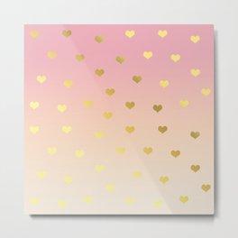 Girly gold hearts Metal Print