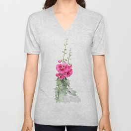 Pink flowers, watercolors Unisex V-Neck