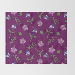 Pretty Pink Floral Pattern Throw Blanket
