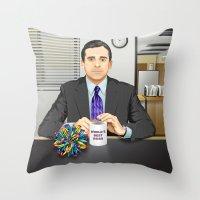 michael scott Throw Pillows featuring Steve Carell as Michael Scott (The Office) by Leo Maia