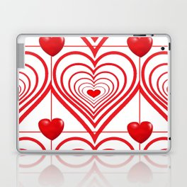ABSTRACT PATTERN OF RED-WHITE VALENTINE HEARTS Laptop & iPad Skin