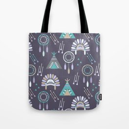 Indian Pattern Purple Tote Bag