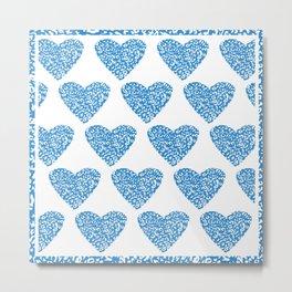 Blue Animal Print Hearts-Valentines Series  Metal Print